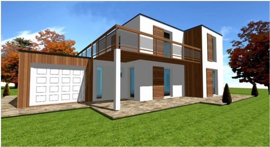 Maison d architecte en ossature bois plans et construction for Modele maison architecte