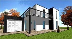 Maison Ossature Bois Moderne Toiture Terrasse N°1