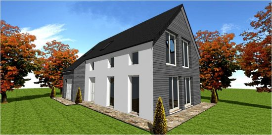 Maison Ossature Bois Plan Photo Modele #4 White