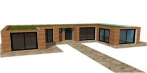 plan de maison en u en bois