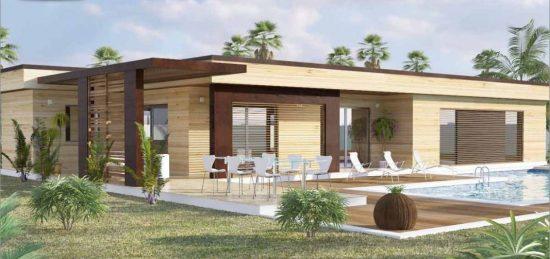 Plan constructeur maison toit terrasse toiture plate ossature bois maisons bois france foret - Maison cubique plain pied ...