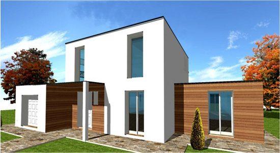 Plan constructeur maison toit terrasse toiture plate ossature bois maisons bois france foret - Plan maison toit plat gratuit ...