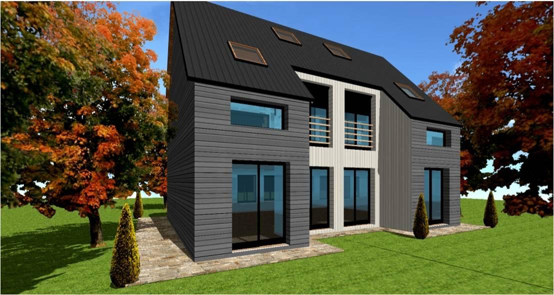 maison avec bardage metallique avie home. Black Bedroom Furniture Sets. Home Design Ideas