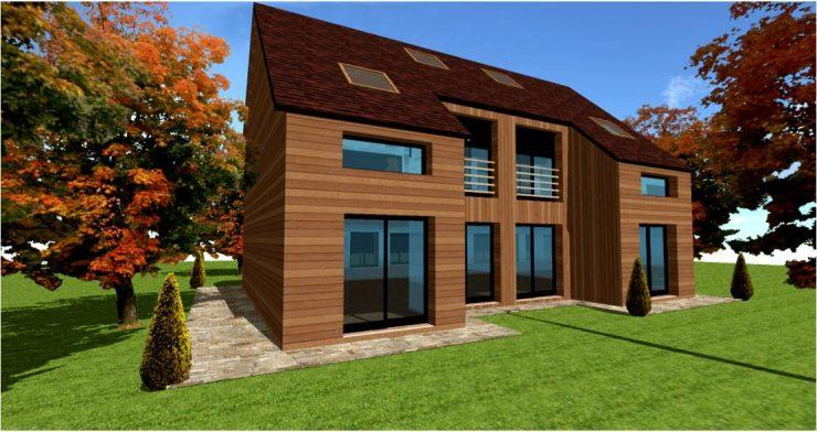 Permis de construire maison ossature bois pas cher par architecte ou designer